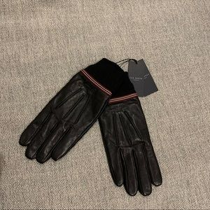 Ted Baker Gloves Black Leather M/L With Cuffs NWT